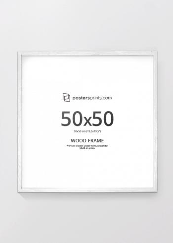 HVIT RAMME, 50x50