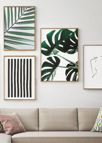 Tavelvägg med botaniska posters och abstrakt konst